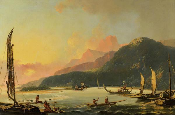 Wall Art - Painting - Tahitian War Galleys In Matavai Bay, Tahiti, 1776 by William Hodges