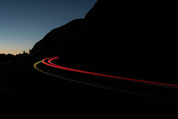 Wall Art - Photograph - Tail Lights On A Mountain Road by Steve Gadomski