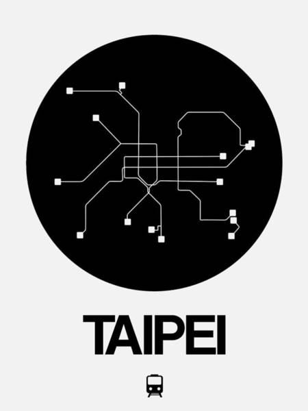 Wall Art - Digital Art - Taipei Black Subway Map by Naxart Studio