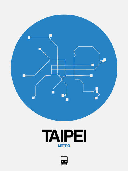 Wall Art - Digital Art - Taipei Blue Subway Map by Naxart Studio