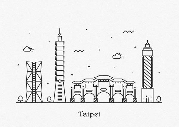Drawing - Taipei Cityscape Travel Poster by Inspirowl Design