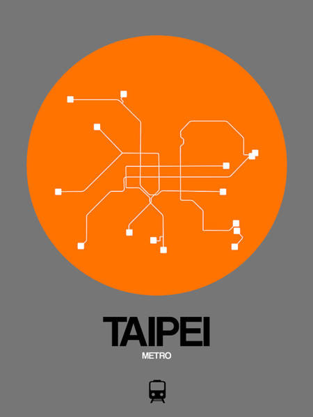 Wall Art - Digital Art - Taipei Orange Subway Map by Naxart Studio