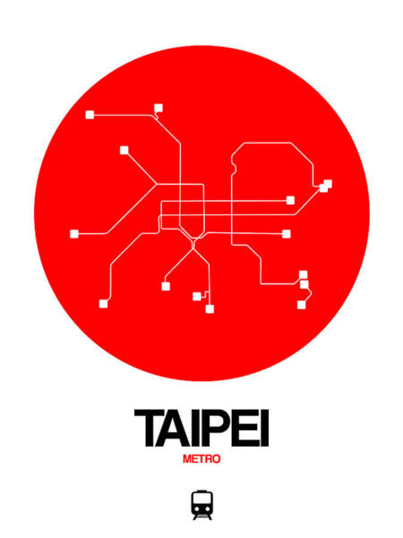 Wall Art - Digital Art - Taipei Red Subway Map by Naxart Studio