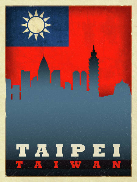 Wall Art - Mixed Media - Taipei Taiwan City Skyline Flag by Design Turnpike