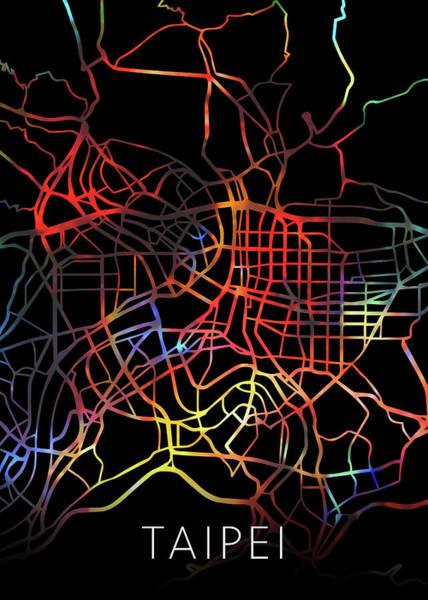 Wall Art - Mixed Media - Taipei Taiwan Watercolor City Street Map Dark Mode by Design Turnpike