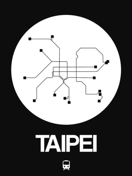 Wall Art - Digital Art - Taipei White Subway Map by Naxart Studio