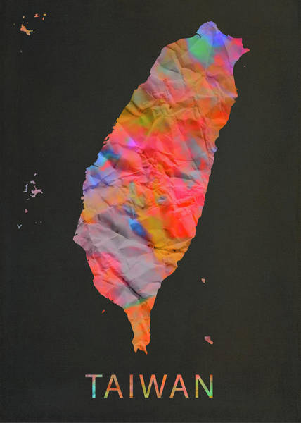 Wall Art - Mixed Media - Taiwan Tie Dye Country Map by Design Turnpike