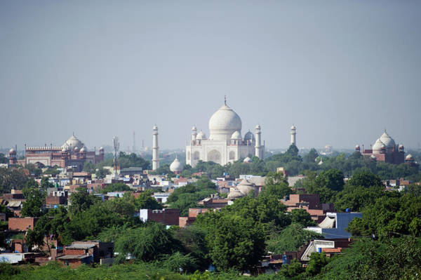 Onion Domes Photograph - Taj Mahal And City Of Agra by Rebecca Yale