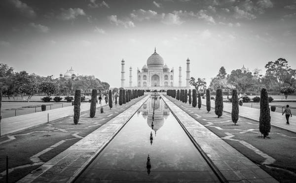 Photograph - Taj Mahal Black White by Gary Gillette