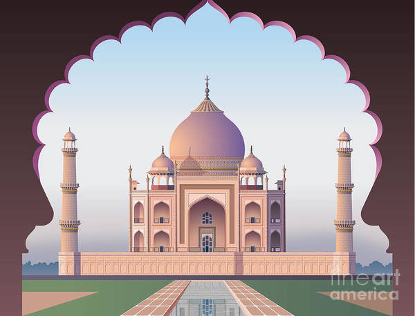 Taj Mahal Through The Window Art Print