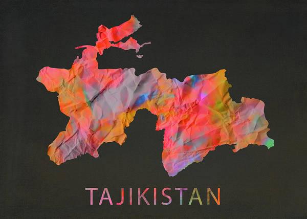 Wall Art - Mixed Media - Tajikistan Tie Dye Country Map by Design Turnpike