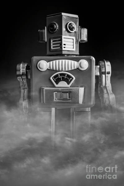 Wall Art - Photograph - Take Me To Your Leader Vintage Tin Toy Robot Black And White by Edward Fielding