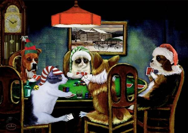 Cats And Dogs Painting - Taking A Break by Ron Chambers