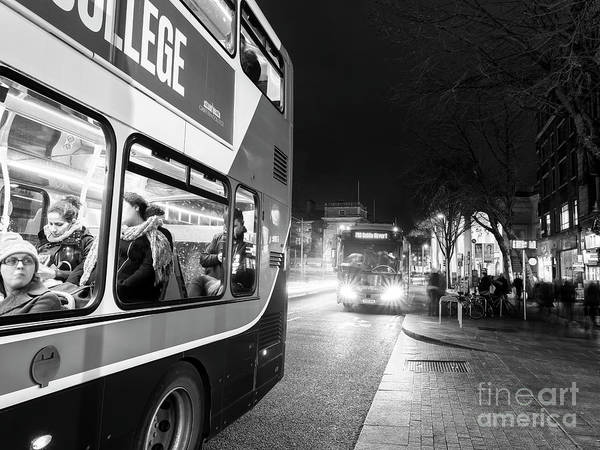 Wall Art - Photograph - Taking The Bus At Night Dublin by John Rizzuto