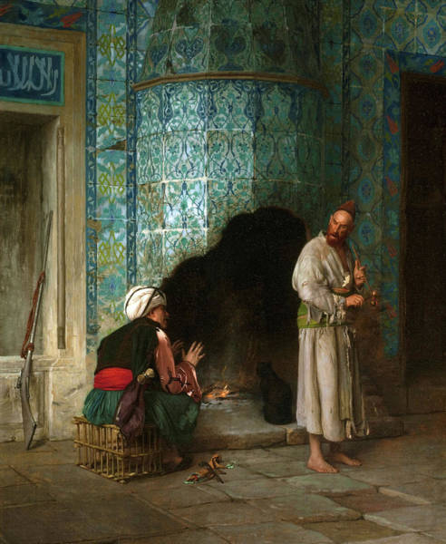 Wall Art - Painting - Talk At The Furnace Side - Digital Remastered Edition by Jean-Leon Gerome