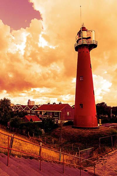 Scheveningen Photograph - Tall Bright Red Lighthouse In Holland by Debra and Dave Vanderlaan