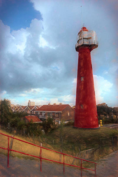 Scheveningen Photograph - Tall Red Lighthouse In Holland Nautical Painting by Debra and Dave Vanderlaan