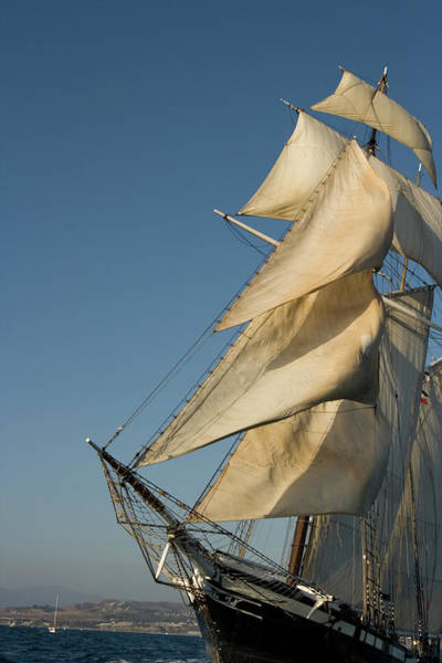 Rigging Photograph - Tall Ship At An Angle by Cliffwass