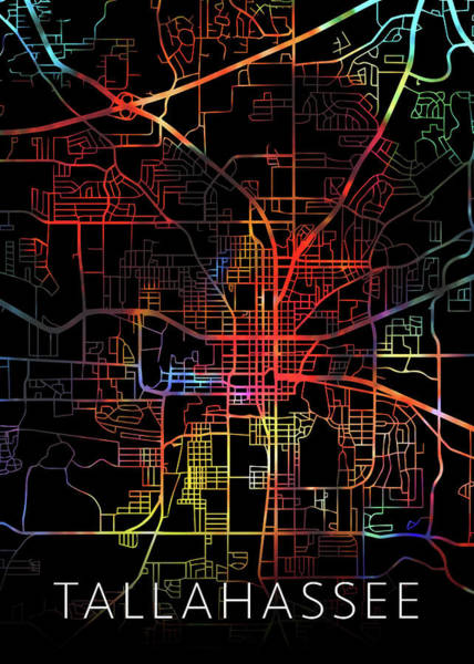 Wall Art - Mixed Media - Tallahassee Florida Watercolor City Street Map Dark Mode by Design Turnpike
