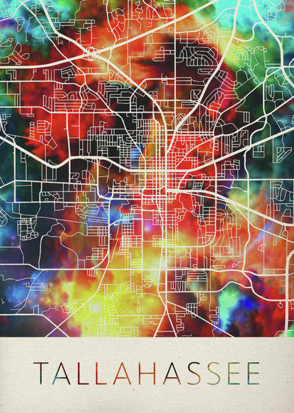 Wall Art - Mixed Media - Tallahassee Florida Watercolor City Street Map by Design Turnpike