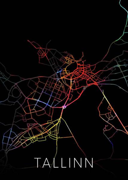 Wall Art - Mixed Media - Tallinn Estonia Watercolor City Street Map Dark Mode by Design Turnpike
