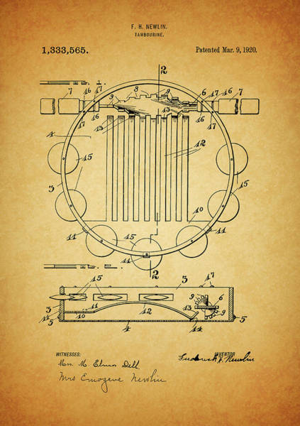 Drawing - Tambourine Patent by Dan Sproul