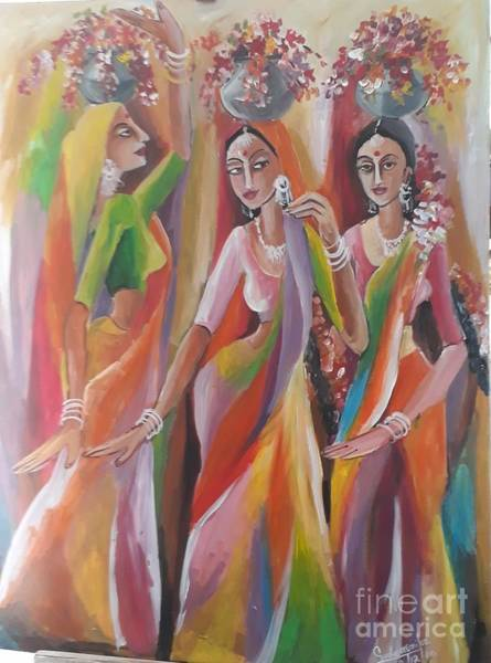 Wall Art - Painting - Tami Dencers by Sudumenike Wijesooriya