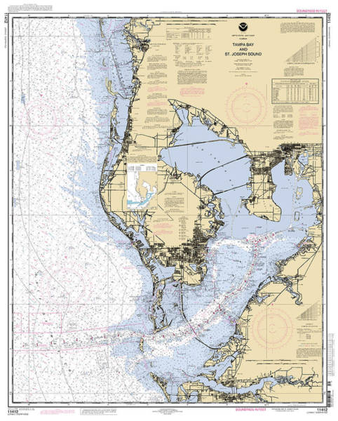 Digital Art - Tampa Bay And St. Joseph Sound Noaa Chart 11412 by Paul and Janice Russell