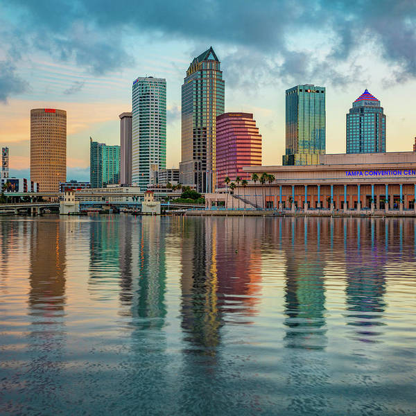 Photograph - Tampa Florida Skyline Reflections On The Bay 1x1 by Gregory Ballos