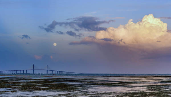 Photograph - Tampa Bay Moon Rise At Sunset by Steven Sparks
