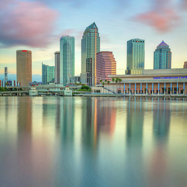 Cigar Photograph - Tampa Bay Skyline At Dusk 1x1 by Gregory Ballos