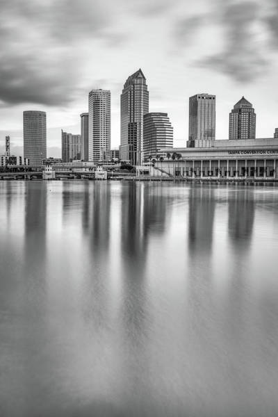 Photograph - Tampa Bay Skyline At Sunrise - Monochrome Edition by Gregory Ballos