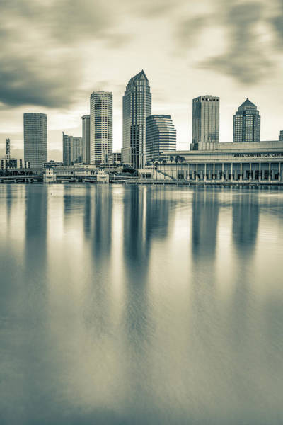 Photograph - Tampa Bay Skyline At Sunrise - Sepia Edition by Gregory Ballos
