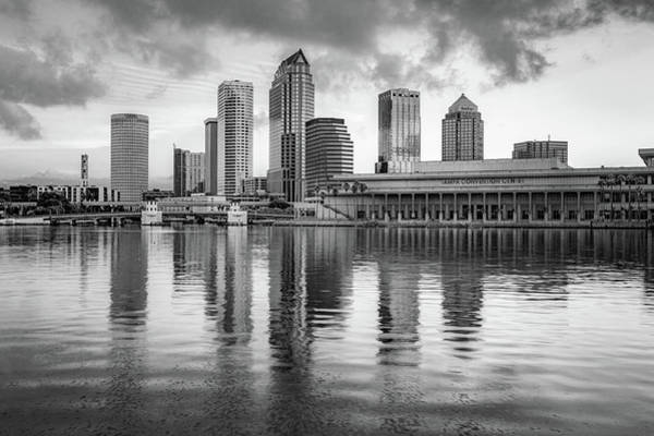Photograph - Tampa Bay Skyline First Morning Light - Infrared Monochrome by Gregory Ballos