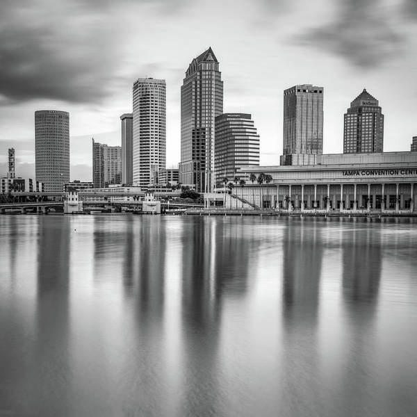Photograph - Tampa Bay Skyline In Monochrome 1x1 by Gregory Ballos