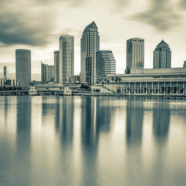 Photograph - Tampa Bay Skyline In Sepia 1x1 by Gregory Ballos