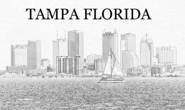 Wall Art - Drawing - Tampa City Skyline Line Work A by David Lee Thompson