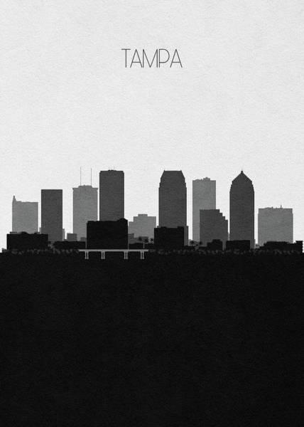 Tampa Digital Art - Tampa Cityscape Art by Inspirowl Design