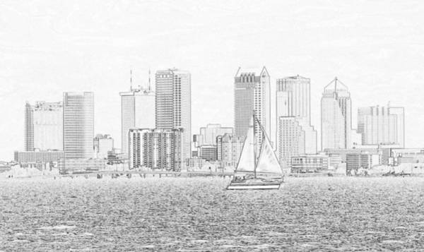 Wall Art - Drawing - Tampa Classic View by David Lee Thompson