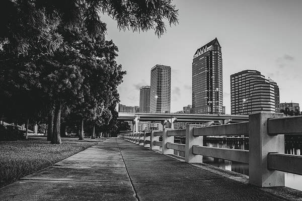 Wall Art - Photograph - Tampa Florida Riverwalk View In Monochrome by Gregory Ballos