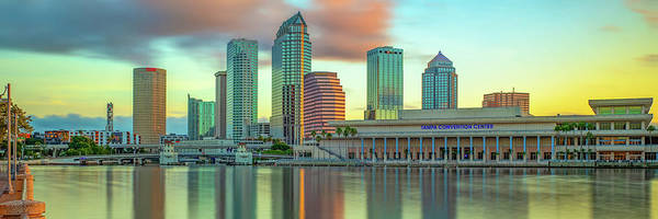 Wall Art - Photograph - Tampa Florida Skyline Panorama At Sunrise by Gregory Ballos