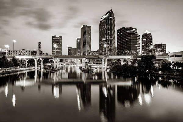 Wall Art - Photograph - Tampa Florida Skyline Reflections In Sepia by Gregory Ballos