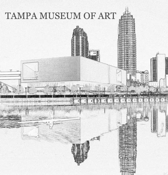 Wall Art - Drawing - Tampa Museum Of Art Line Work A by David Lee Thompson