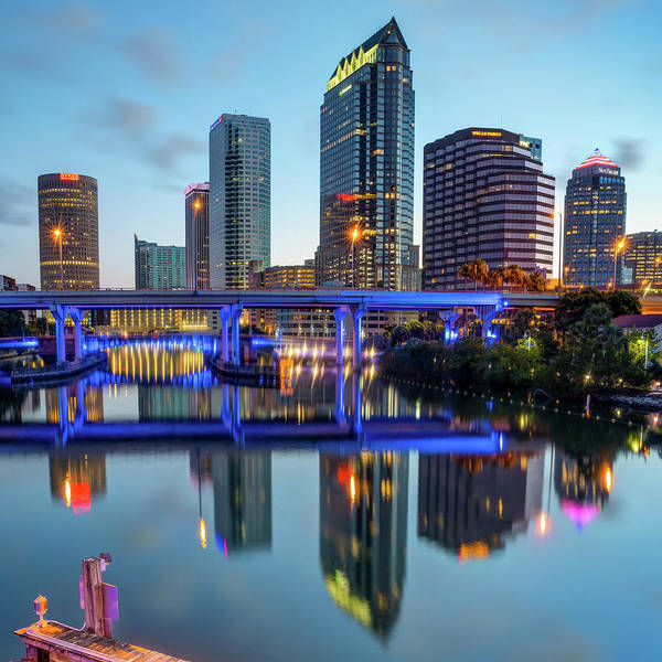 Photograph - Tampa Skyline At Dawn Over The Riverwalk 1x1 by Gregory Ballos