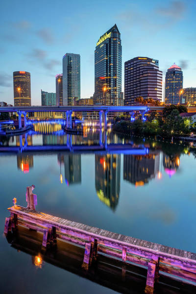 Photograph - Tampa Skyline At Dawn Over The Riverwalk by Gregory Ballos