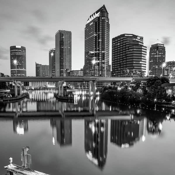 Photograph - Tampa Skyline At Dawn Over The Riverwalk In Monochrome 1x1 by Gregory Ballos