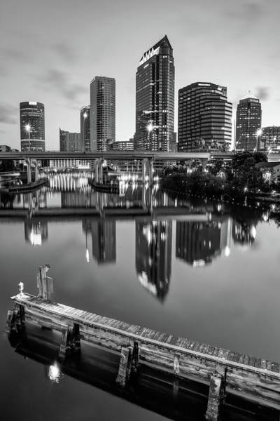 Photograph - Tampa Skyline At Dawn Over The Riverwalk In Monochrome by Gregory Ballos