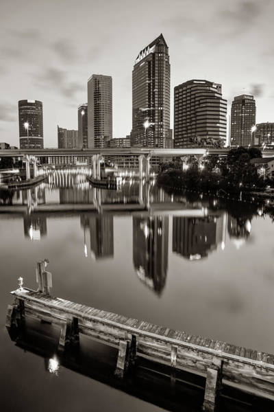 Photograph - Tampa Skyline At Dawn Over The Riverwalk In Sepia by Gregory Ballos