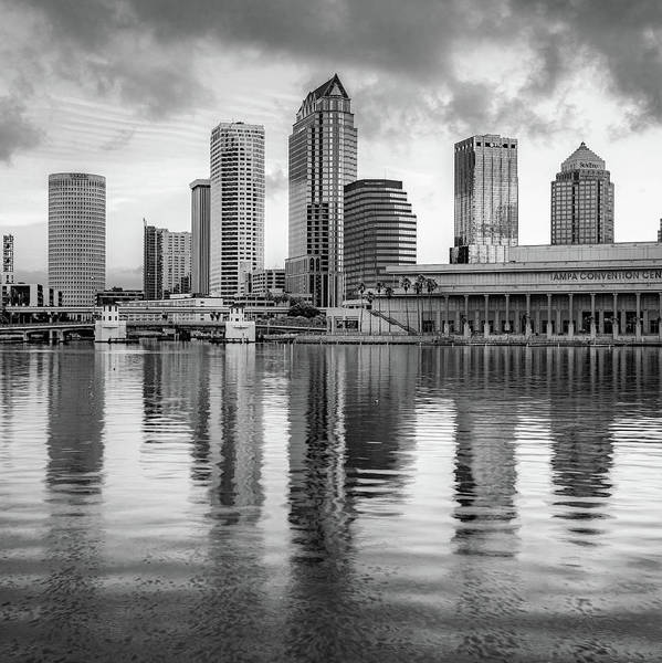Photograph - Tampa Skyline Monochrome Architecture On The Bay 1x1 by Gregory Ballos