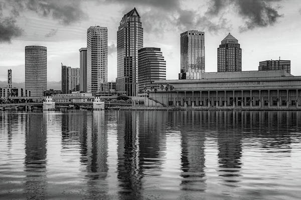 Wall Art - Photograph - Tampa Skyline Monochrome Architecture On The Bay by Gregory Ballos
